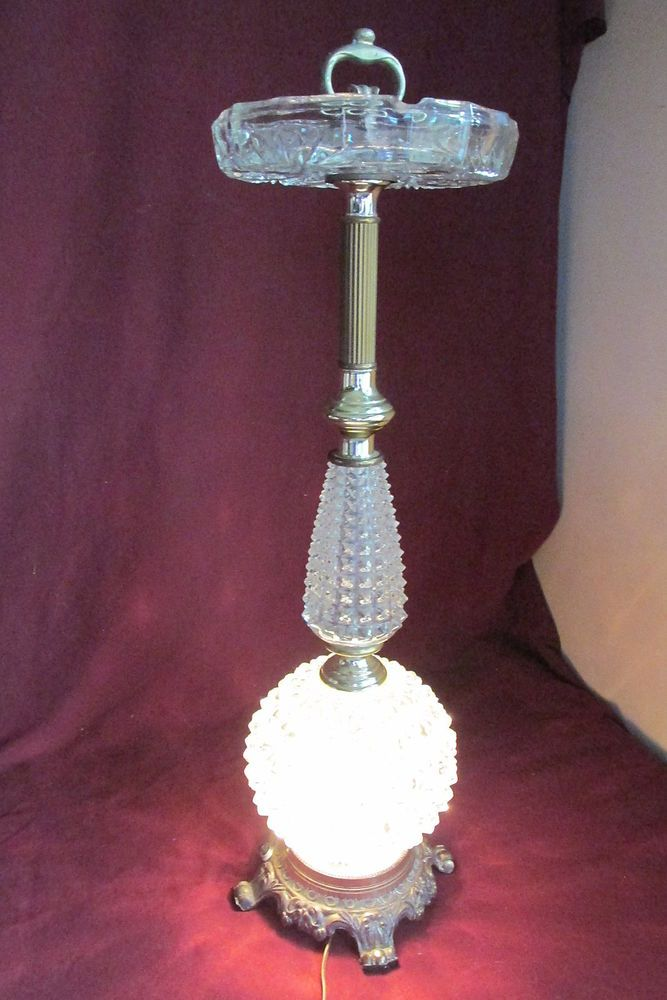 Vintage Hollywood Regency Hedco Cut Glass Smoking Stand
