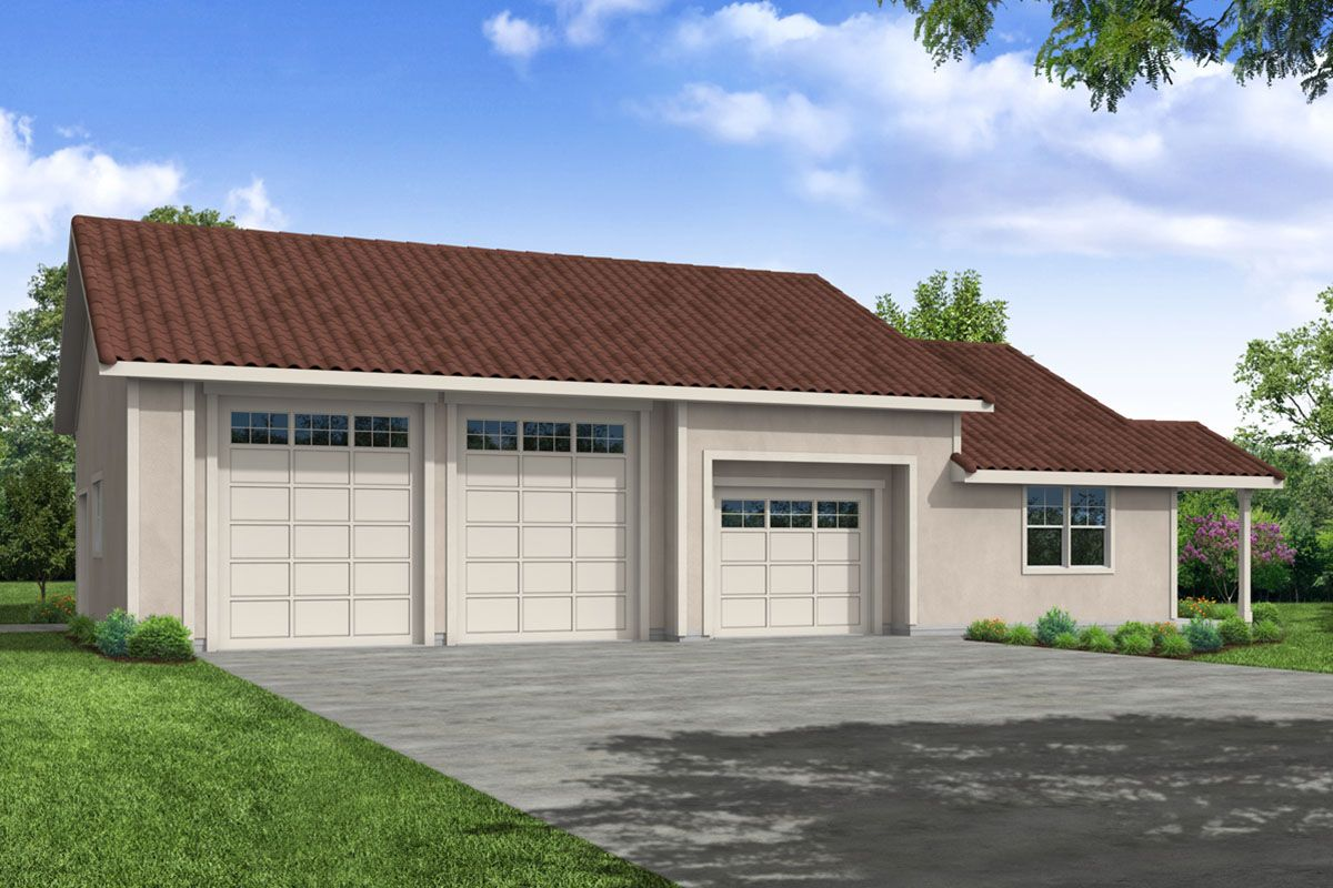 Plan 72988da 3 Car Garage With Heated Workshop In 2021 Garage Workshop Plans Mediterranean Style House Plans Mediterranean House Plan