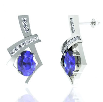 1 36ctw Oval Tanzanite Earring With 18ctw Diamonds In 14k White Gold