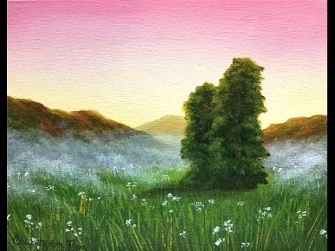 Painter In You Acrylic Landscape Painting Lesson Misty Meadow Sunset Landscape Painting Lesson Simple Acrylic Paintings Landscape Painting Tutorial