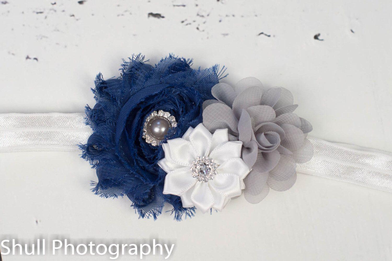 Navy Blue Flower Headband, Navy Grey White Girls Headband, Baby Girl Headband, Newborn Headband, Navy Blue Headband, Hairbows, baby girl by GirliesGalore on Etsy https://www.etsy.com/listing/224489576/navy-blue-flower-headband-navy-grey