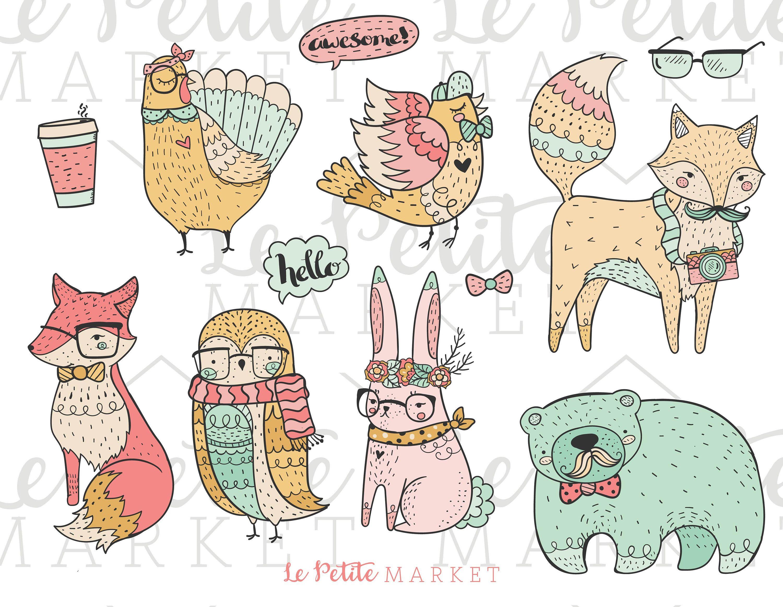 Cute Spring Hipster Animals Clip Art Set, Hipster Fox ...