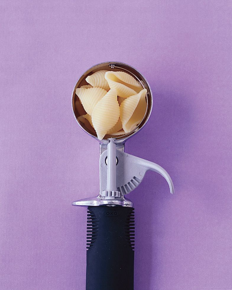 Ice-cream scoop as 1/4 cup measuring cup. Use a silicone scoop to make clean-up even easier!