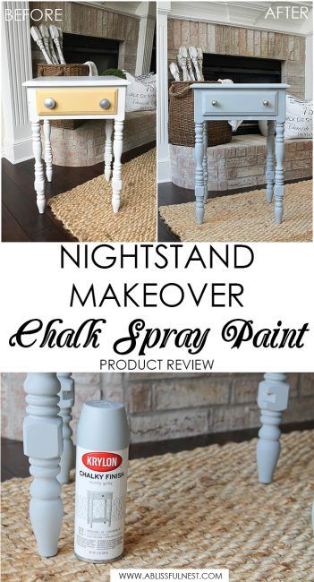 Diy Nightstand Makeover Using Chalk Spray Paint Diy Nightstand Makeover Spray Paint Furniture Nightstand Makeover