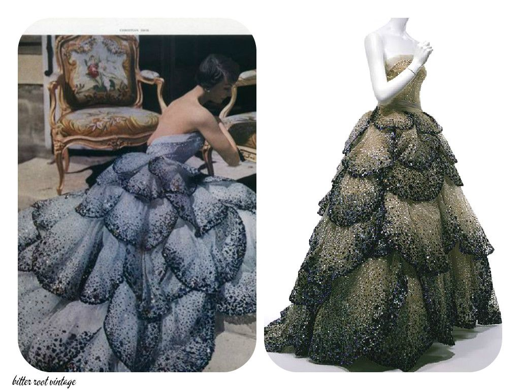 A breathtaking 1949 gown by Christian Dior with crystal petal-like tiers that I have just fallen in love with, photographed then (on the left) and as it is now.