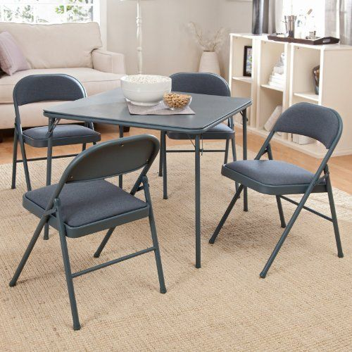 Meco Sudden Comfort 5 Piece Card Table Set Cadet Blue Color Cadet Blue By Meco 149 99 Table Dimensions 34 Table Dimensions Card Table Set Home Kitchens