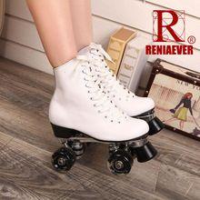 RENIAEVER Patines de Rodillos Dobles de Cuero Genuino Con Ruedas Led Two Side Señora Patines Patins Patins Roller Skate zapatillas de Skate Para Adultos(China (Mainland))