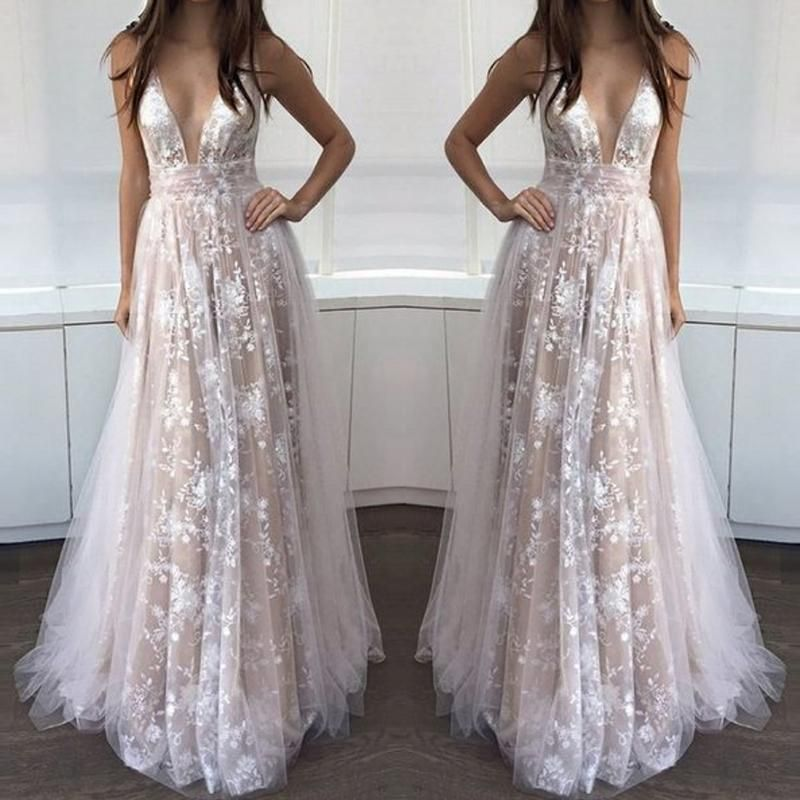 Womens Floral Lace Deep V-Neck Wedding Dress Long Sleeve Ball Party Gown Skirt Cocktail Prom Dress