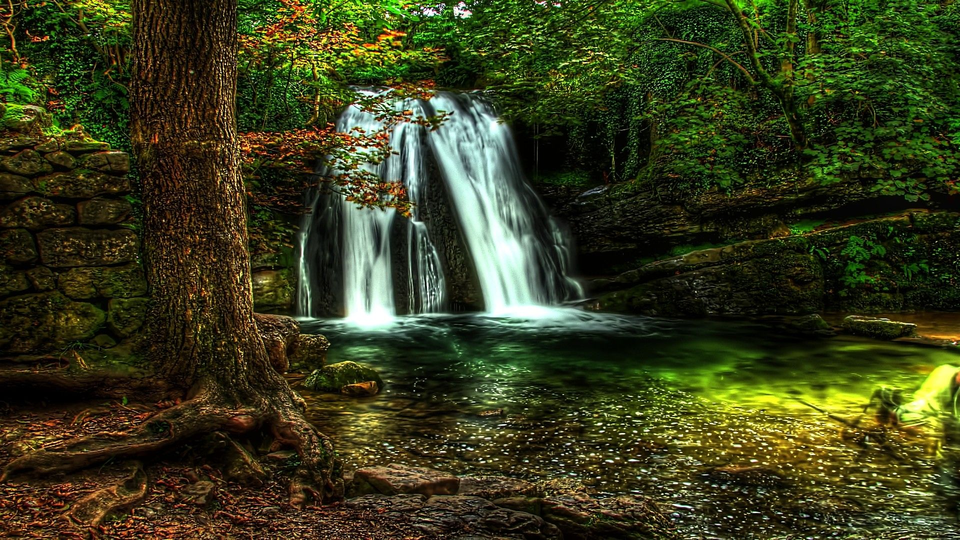 Waterfall Forest Nature Wallpaper