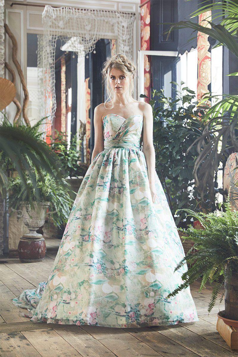 Floral Chiffon Wedding Dress