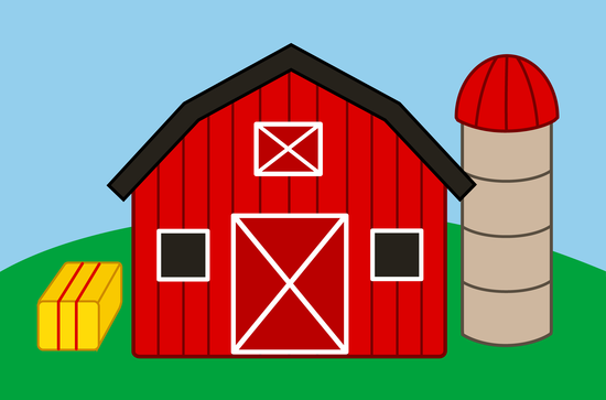Free Clip Art Of A Cute Red Barn And Silo On Farm