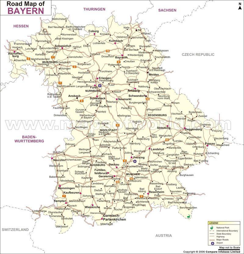 Bayern Road Map Germany Map Bayern Map
