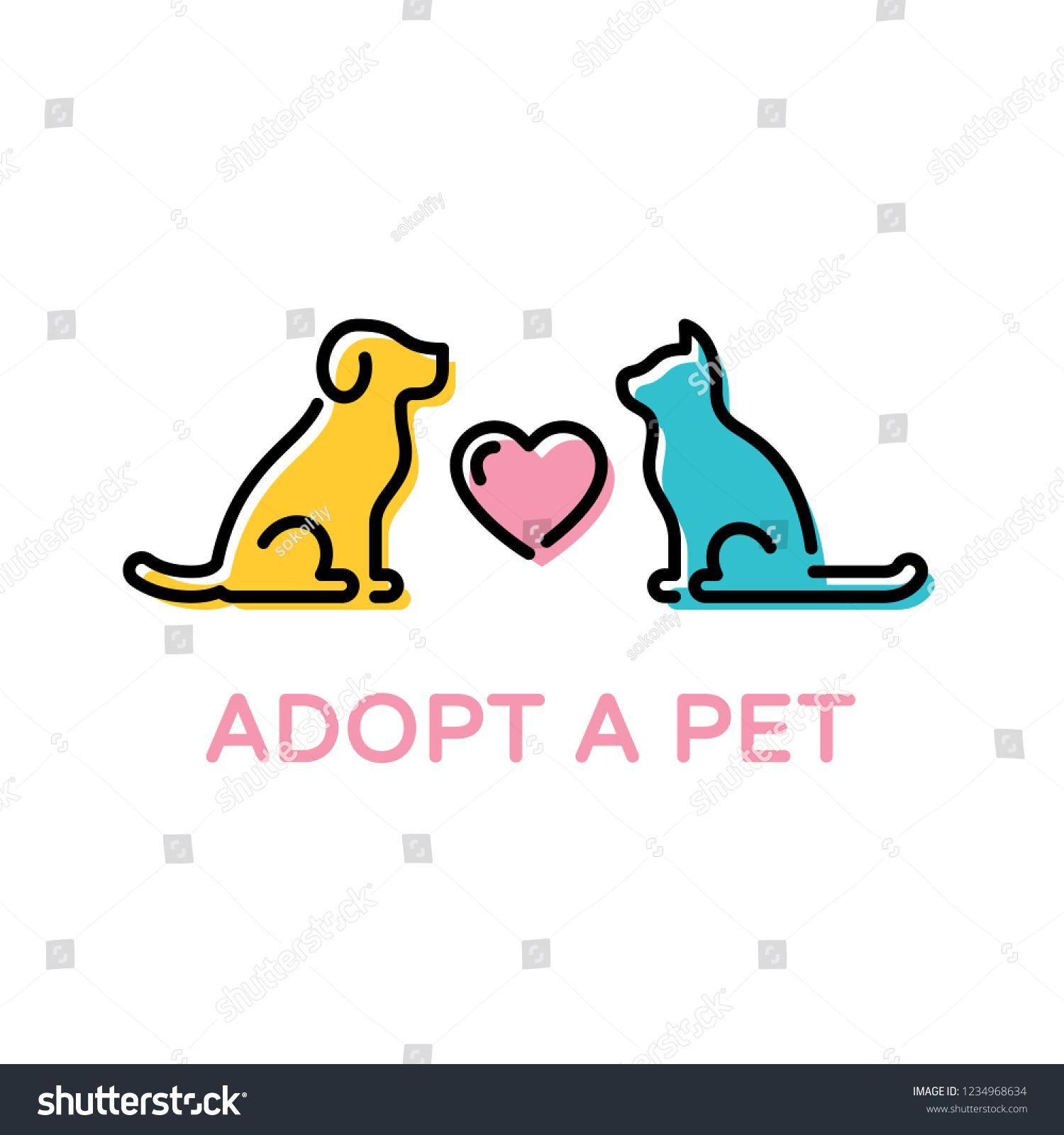 Adopt A Pet Design Poster With Dog And Cat Vector Dona T Buy Banner Color Linear Pictogram Banner Showing Anim With Images Icon Illustration Animal Design Poster Design