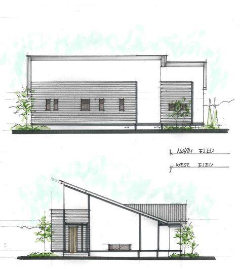 新築住宅の外観アイディア10選 箱型なナウトレンドデザイン: 人が集まる小屋裏利用の平屋の間取り