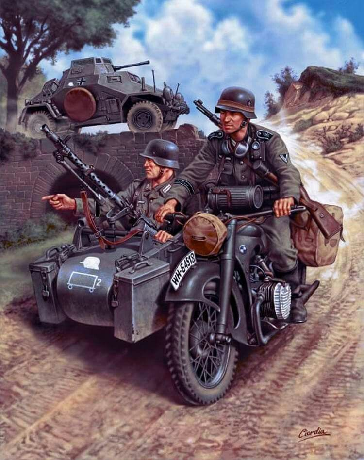 GERMAN MOTORCYCLE TROOPS ON THE MOVE BMW R75 1//35 MASTER BOX 3548F DE