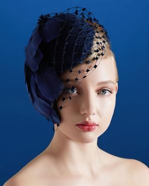 LEAH C. COUTURE MILLINERY Cobalt Blue Cocktail Hat