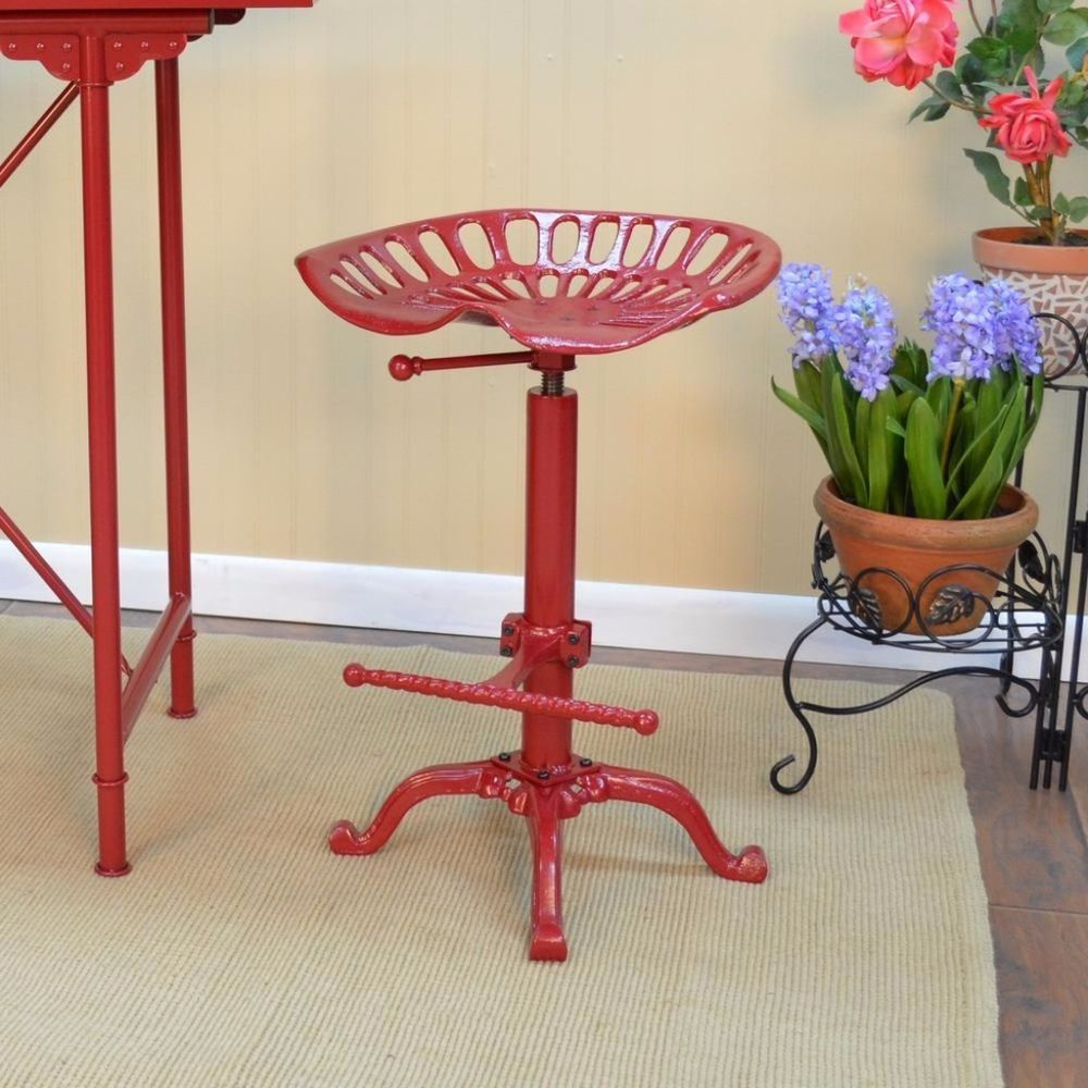Adjustable Height Vintage Tractor Seat Red Bar Stool Rustic Cast