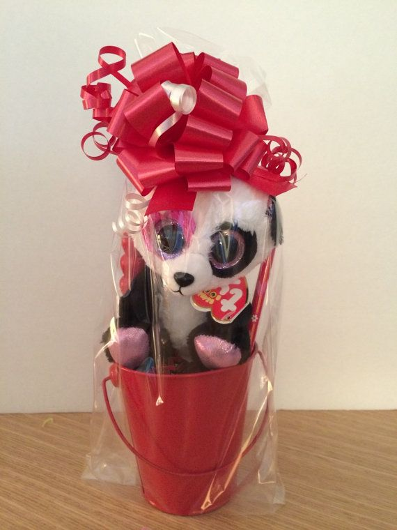 02ef7bc0eab ... Valentines Day Gift Basket Ty Beanie Boo Panda MANDY by CACBaskets ...