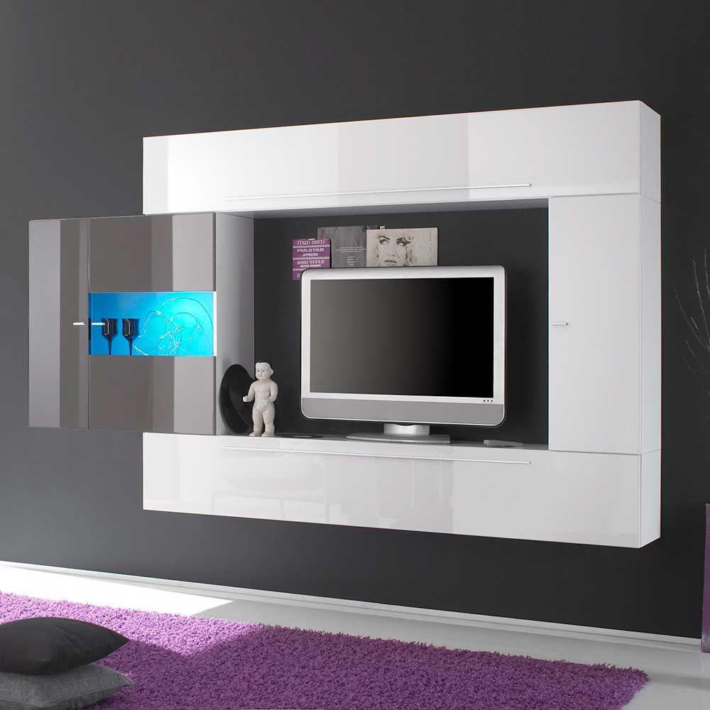 Attraktiv Hängende Wohnwand In Weiß Anthrazit Hochglanz Modern (4 Teilig) Jetzt  Bestellen Unter: