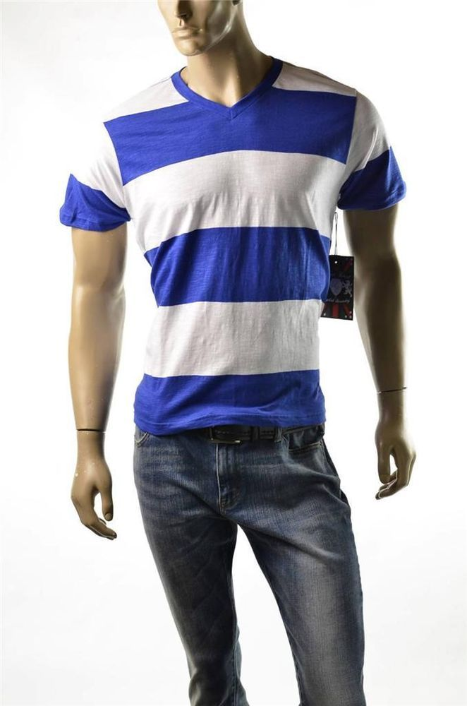 Lions Crest By English Laundry T Shirt Mens Bold Stripe V Neck