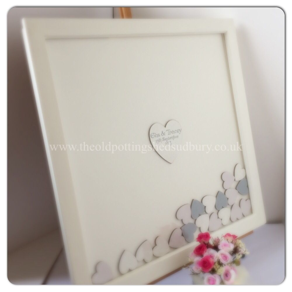 Drop Top Wedding Guest Book White Frame And Card Back With 4cm Hearts Painted