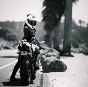 Skully Helmet on Female Motorcyclist