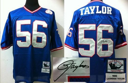 5fd40453b25 Mitchell And Ness Autographed Giants  56 Lawrence Taylor Blue Stitched  Throwback NFL Jersey