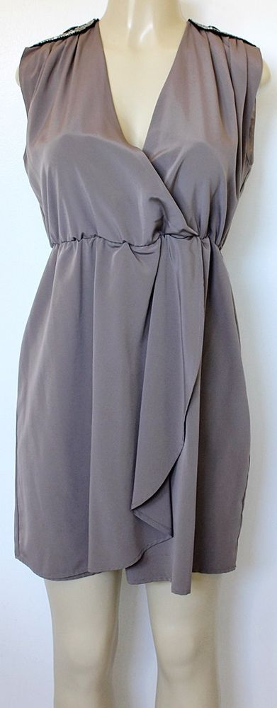 EUC H&M Dress Mini Taupe Gray Wrap Top Crossover Skirt Sequins Epaulets 38 8 M #HM #SundressShift #Cocktail