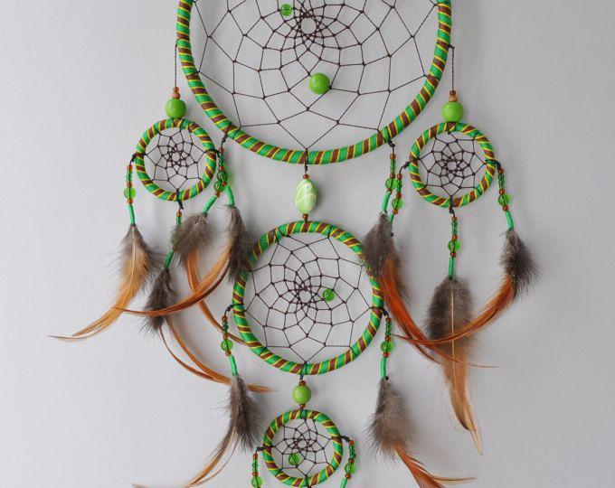 Green dream catcher tenture murale dreamcatchers marron cuir native american tribal grand - Tenture chambre bebe ...