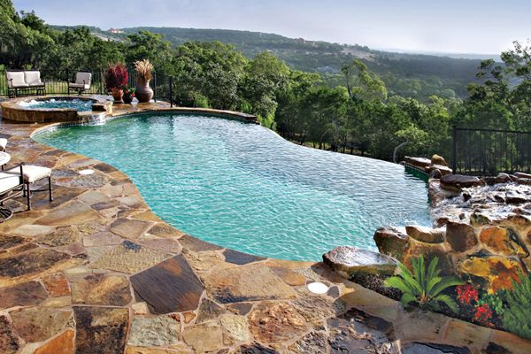 Beautiful Infinity Pool In The Mountains With Lots Of