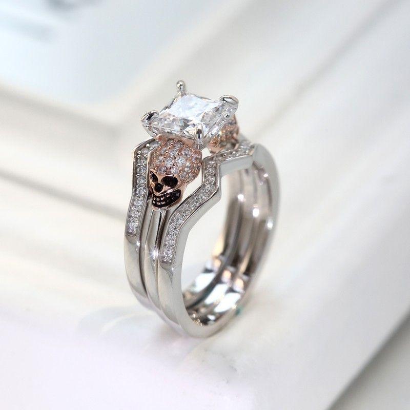 Rose Gold Plated Skull Wedding Rings In Sterling Silver For Women Skullweddingrings
