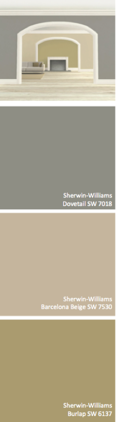 Exterior: Sherwin-Williams Dovetail (SW 7018), Barcelona Beige (SW