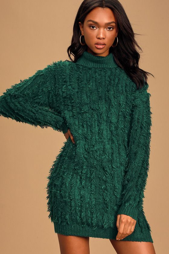 Snuggle Up To You Hunter Green Turtleneck Knit Sweater Dress
