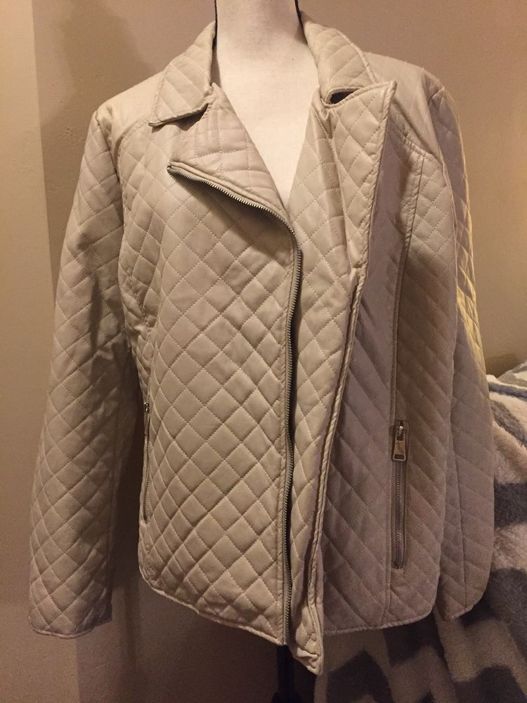 1a8df6059f8 THERAPY Cream Faux Leather Moto Jacket Coat Quilted Look Size 2X  Therapy   Motorcycle