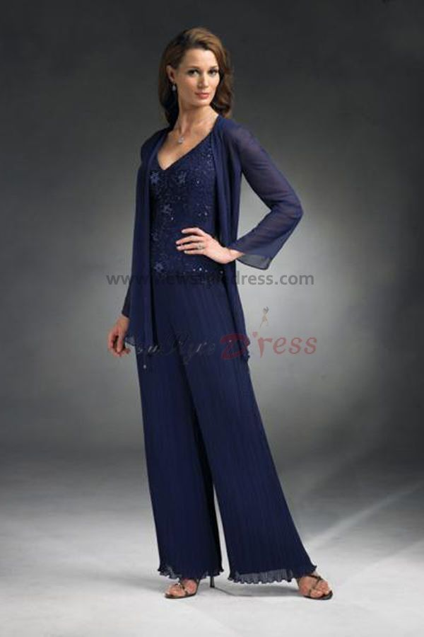 Chiffon Palazzo Pants Wedding Blue Three Piece Mother Of The Bride Dress