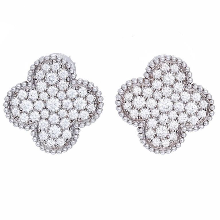 Van Cleef Arpels Magic Alhambra Large Size Diamond And White Gold Earrings
