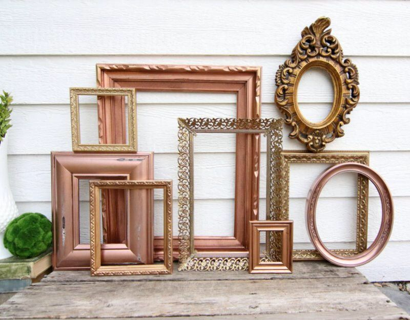 set of 9 open frames rose gold gold copper wall gallery