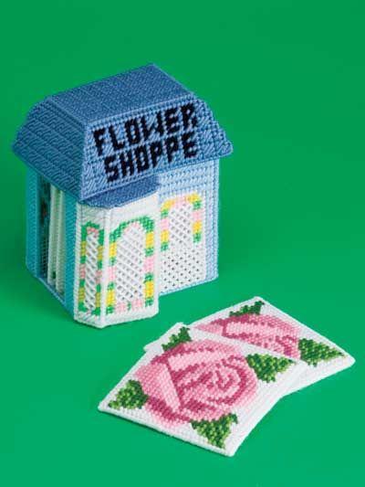 Village Coasters Plastic Canvas Pattern | flower shop |