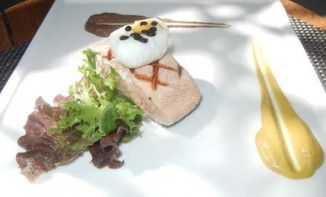 Salmon Steak with Poached Egg and Balsamic Caviar is another healthy and delicious recipe from chef Shailendra Singh of Oakwood Premier #Pune.