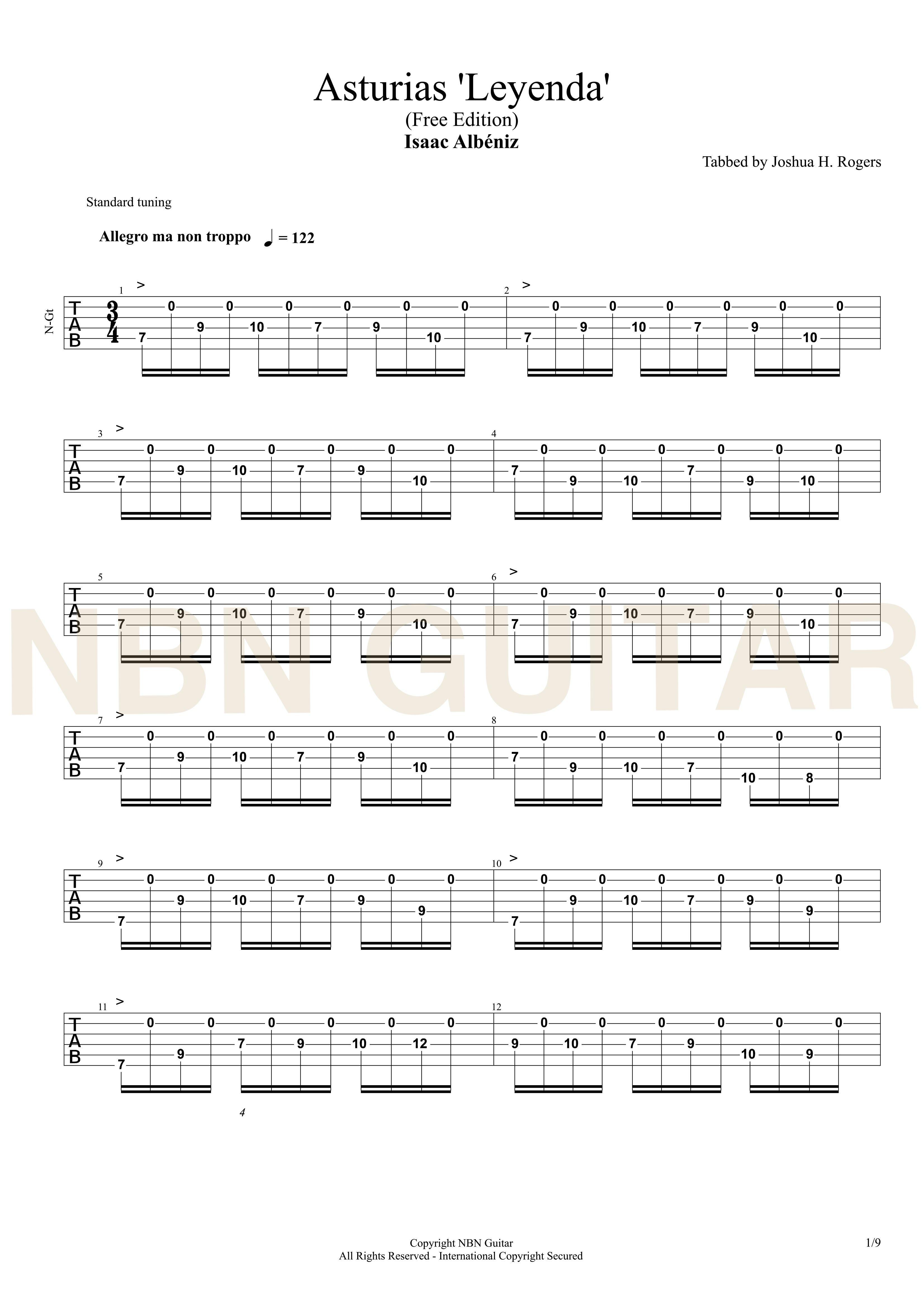 Asturias Free Classical Guitar Tabs Nbn Guitar Guitar Lessons Guitar Tabs Basic Guitar Lessons