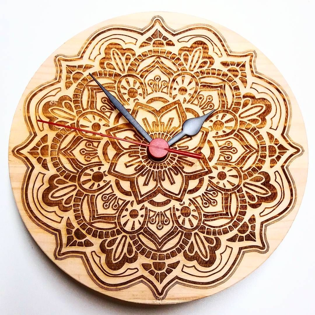 Mandala Wooden Wall Clock Wood Holz Handarbeit