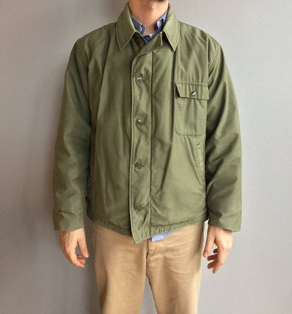 US Army verde oliva Deck Jacket A-2 zip sul davanti con chiusura a bottone. Grande.