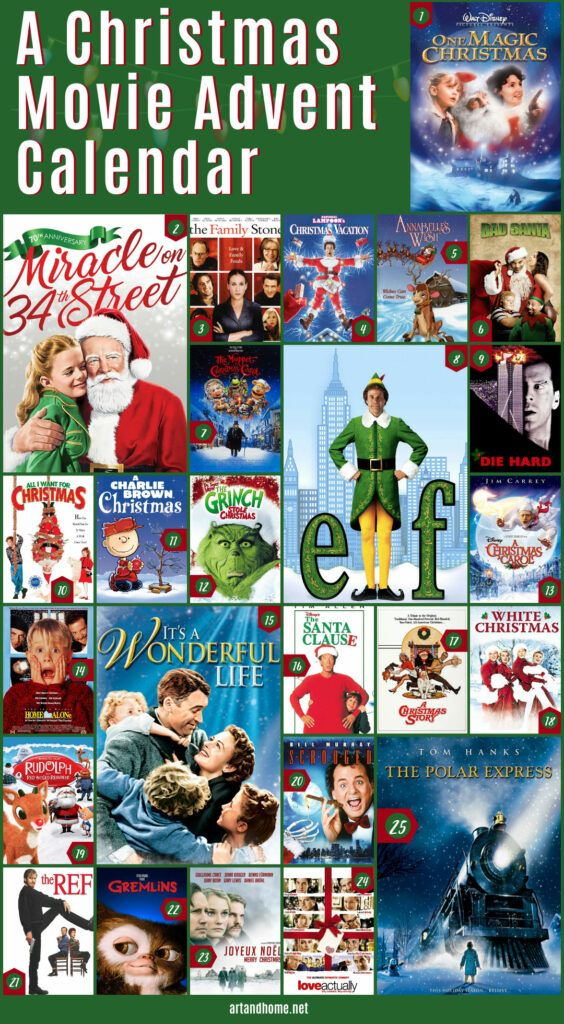 Our very own Christmas Movie Advent Calendar so that you can enjoy a classic Christmas Movie every day between December 1st and Christmas Day! #Christmas #ChristmasMovies #AdventCalendar #MerryChristmas #FamilyChristmas