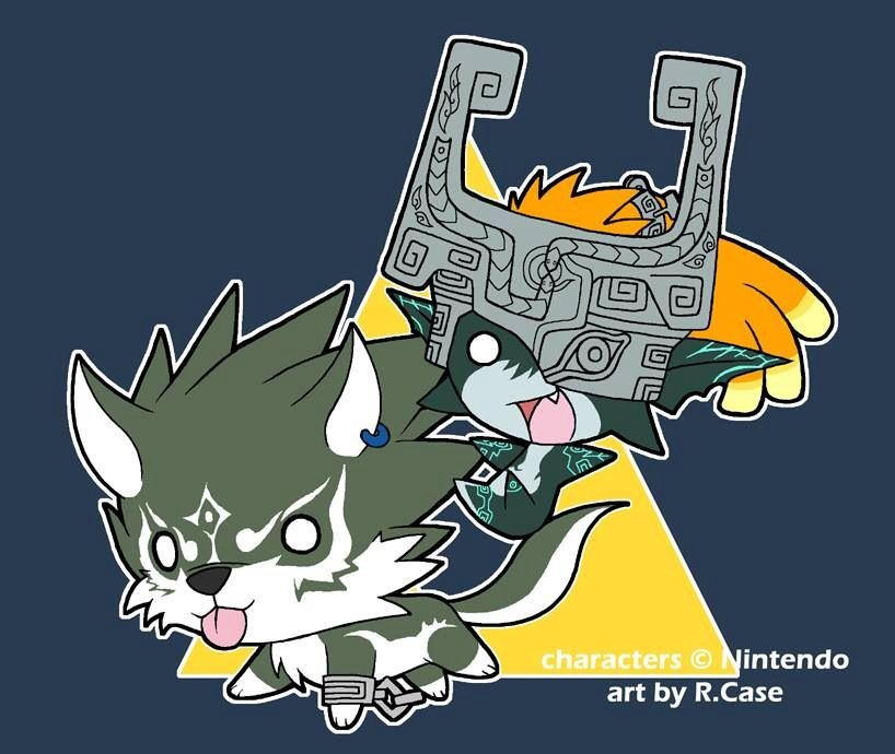 Wolf Link and Midna Chibis