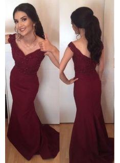 luxury abendkleider in rot perlen meerjungfrau abiballkleider lang günstigbrautkleider