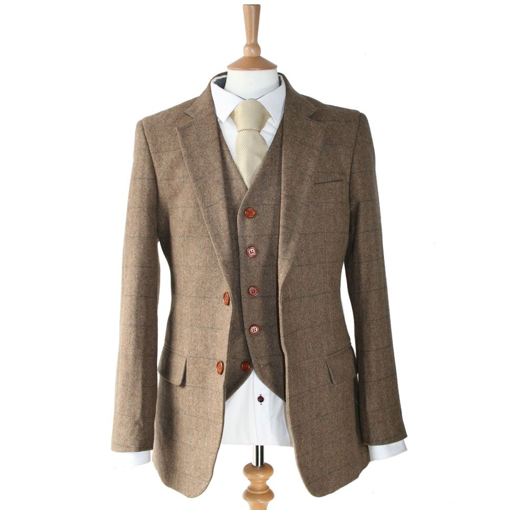 2018 Vintage Wool Tweed 3-Piece Brown Khaki Herringbone Suit Custom Slim Fit