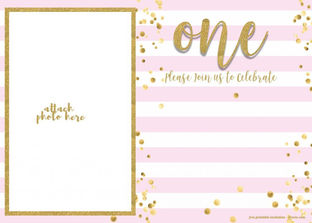 Free 1st Birthday Invitation Pink And Gold Glitter Template Drevio 1st Birthday Invitations Girl 1st Birthday Invitation Template First Birthday Invitations
