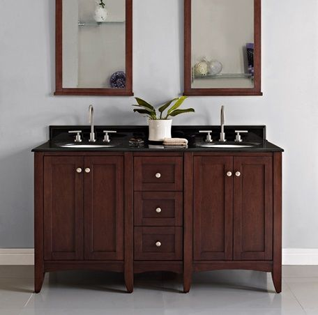 Photo Gallery Website Shaker Americana Vanity with Drawer Bank in Habana Cherry Vanity Fairmont Designs