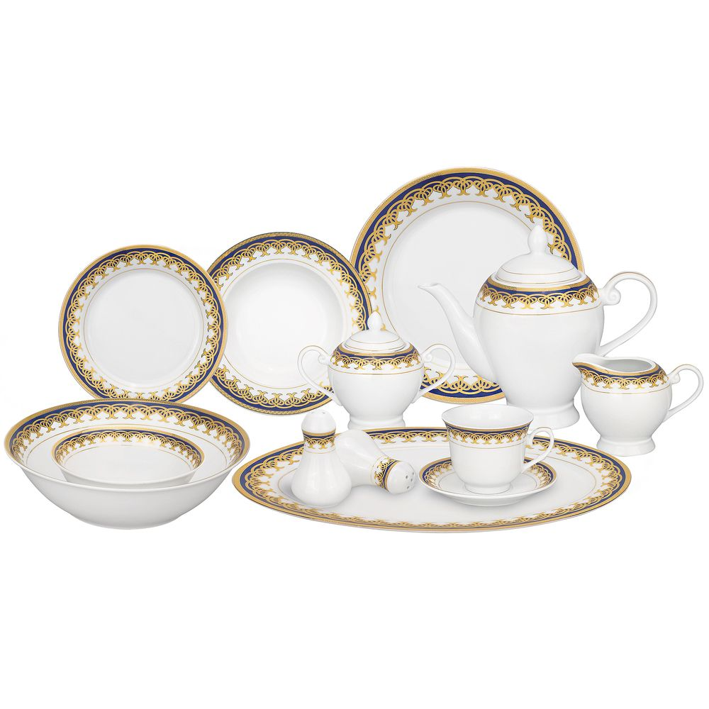 Lorren Home Trends Gold and Blue Accent 57-piece Porcelain Dinnerware Set | Overstock.com