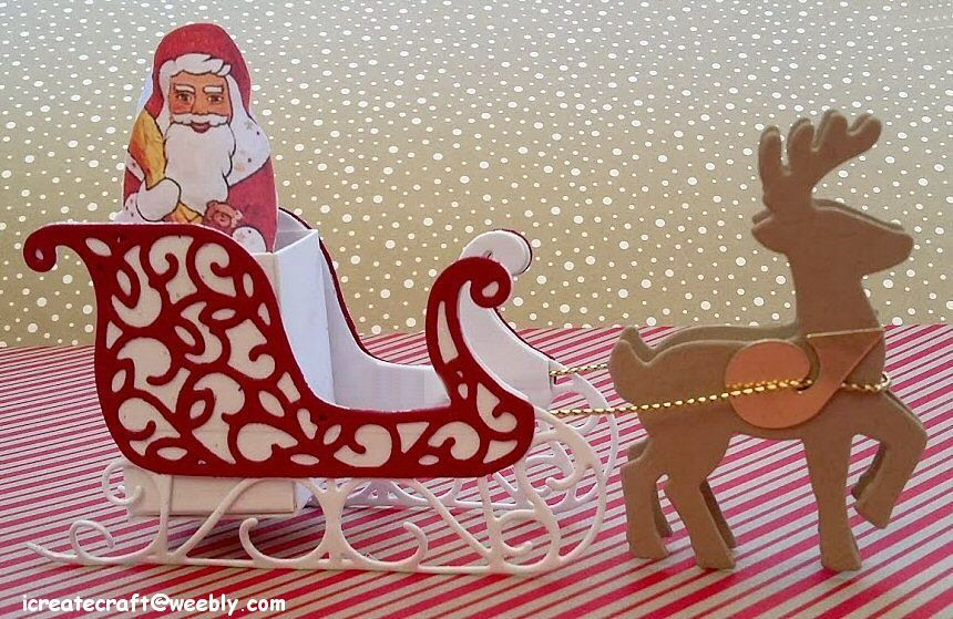 Stampin' Up! Santa Sleigh thinlits, Christmas, Santa, Reindeer, 3D, centre piece, treat box, created by Pauline Barnfather. I Create Craft